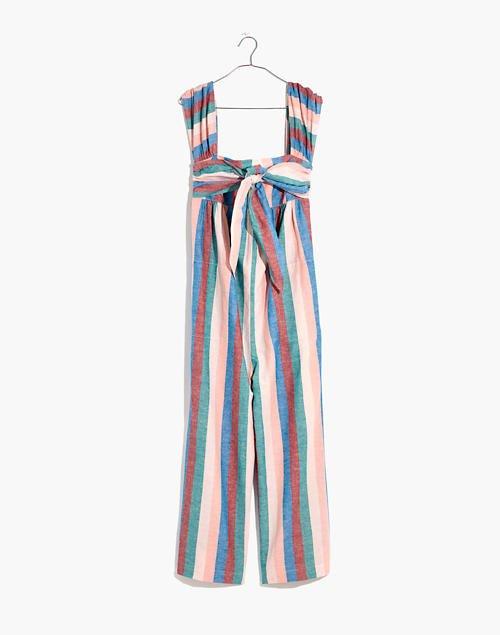 Cap-Sleeve Tie Jumpsuit in Flagstaff Stripe pink
