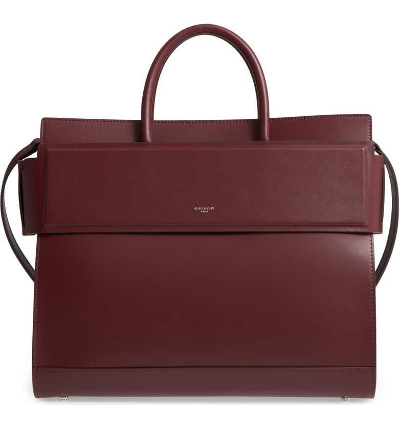 Givenchy | Horizon Calfskin Leather Tote in Oxblood Red