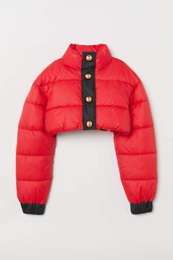 Short Padded Jacket - Red
