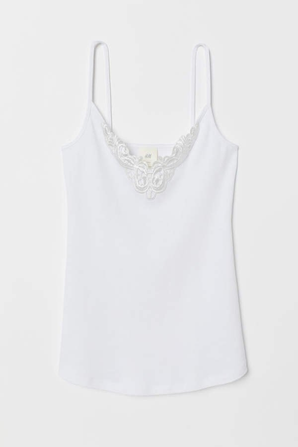 Camisole Top with Lace - White