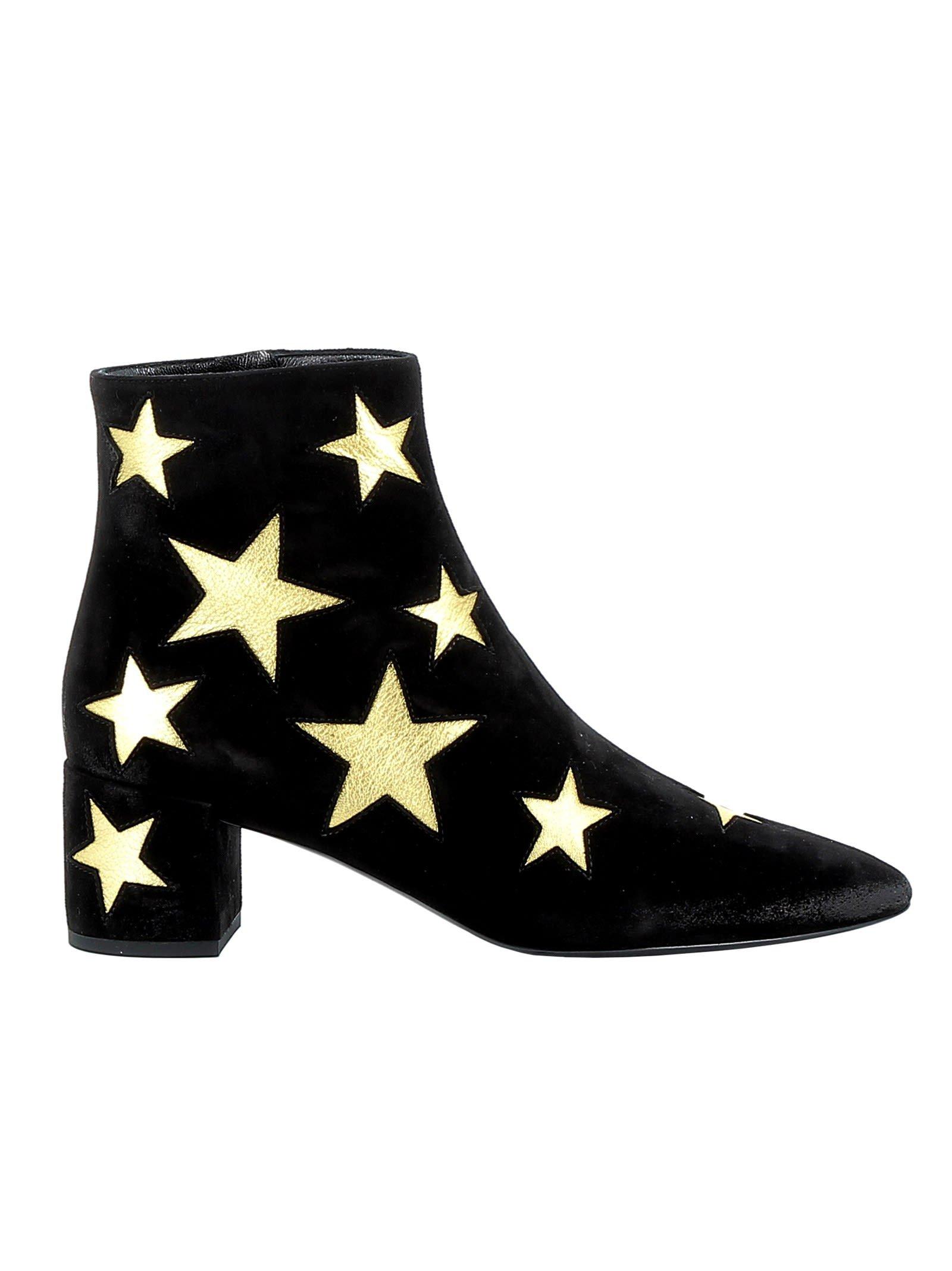 Saint Laurent Black/gold Suede Ankle Boots