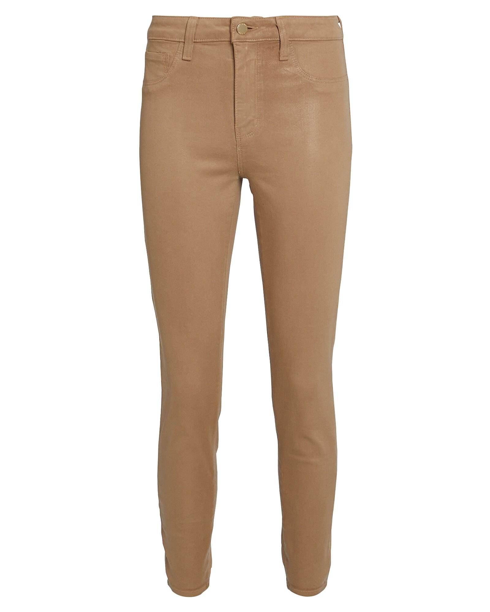 L'Agence | Margot Coated High-Rise Skinny Jeans | INTERMIX®