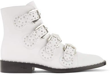 Elegant Studded Leather Ankle Boots - White