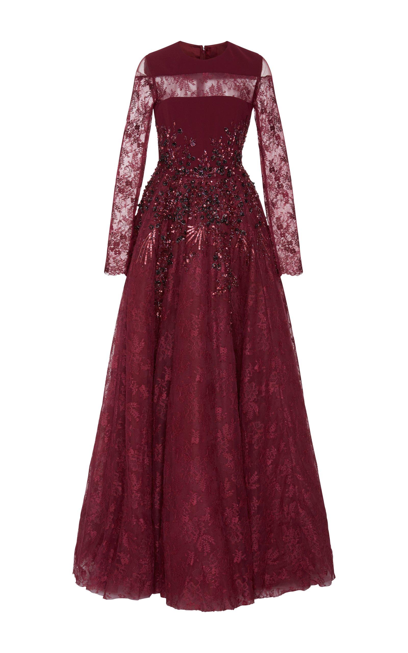 Long Sleeve Embellished Gown by Georges Hobeika   Moda Operandi