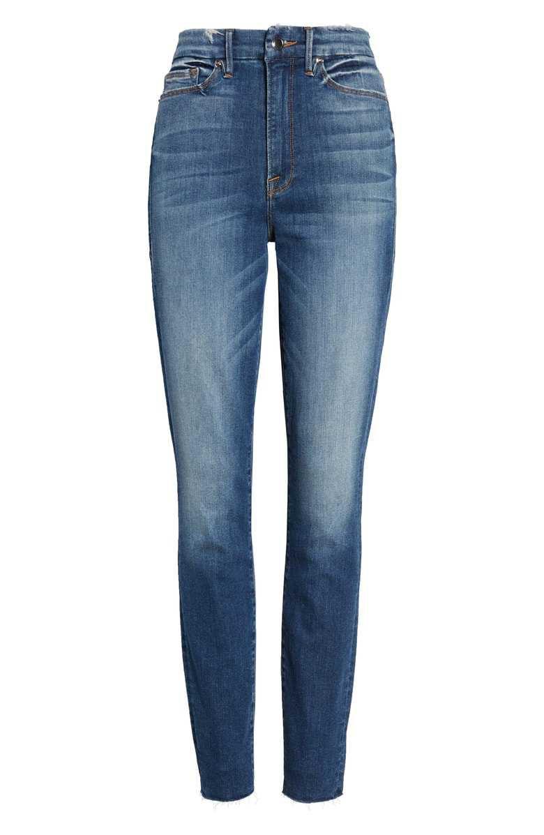 Good American Good Legs High Waist Raw Hem Skinny Jeans (Blue 182) (Regular & Plus Size) | Nordstrom