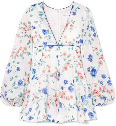 Bluebell Floral-print Cotton And Silk-blend Mini Dress - White