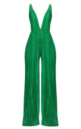 Green Plisse Plunge Strappy Jumpsuit   PrettyLittleThing USA