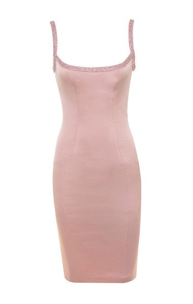 Clothing : Bodycon Dresses : 'Camilla' Pink Satin Dress with Hand Sewn Crystals