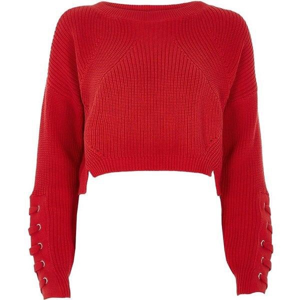 River Island Red Lace-Up Eyelet Cropped Sweater
