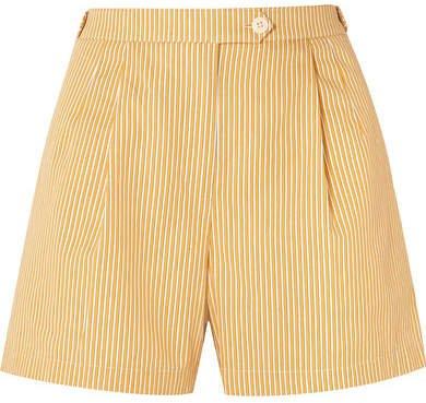 Striped Cotton Shorts - Pastel yellow