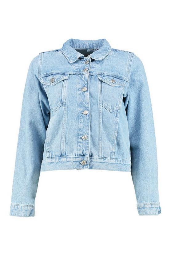 Cindy Light Wash Denim Jacket   Boohoo