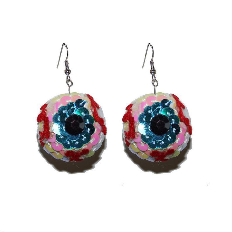 Sequined Eyeball Earrings Super Spooky Eye Earrings sequin   Etsy