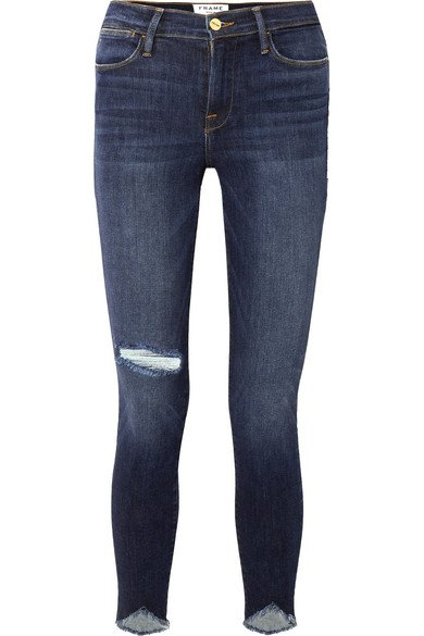 FRAME | Le High Skinny Sweetheart distressed high-rise jeans | NET-A-PORTER.COM