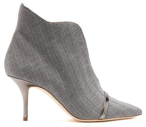 Cora Herringbone Wool Ankle Boots - Womens - Grey
