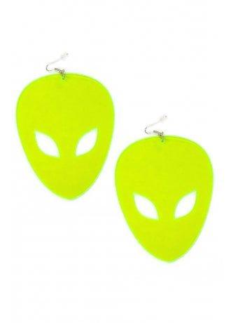 Neon Green XL Alien Earrings | Attitude Clothing