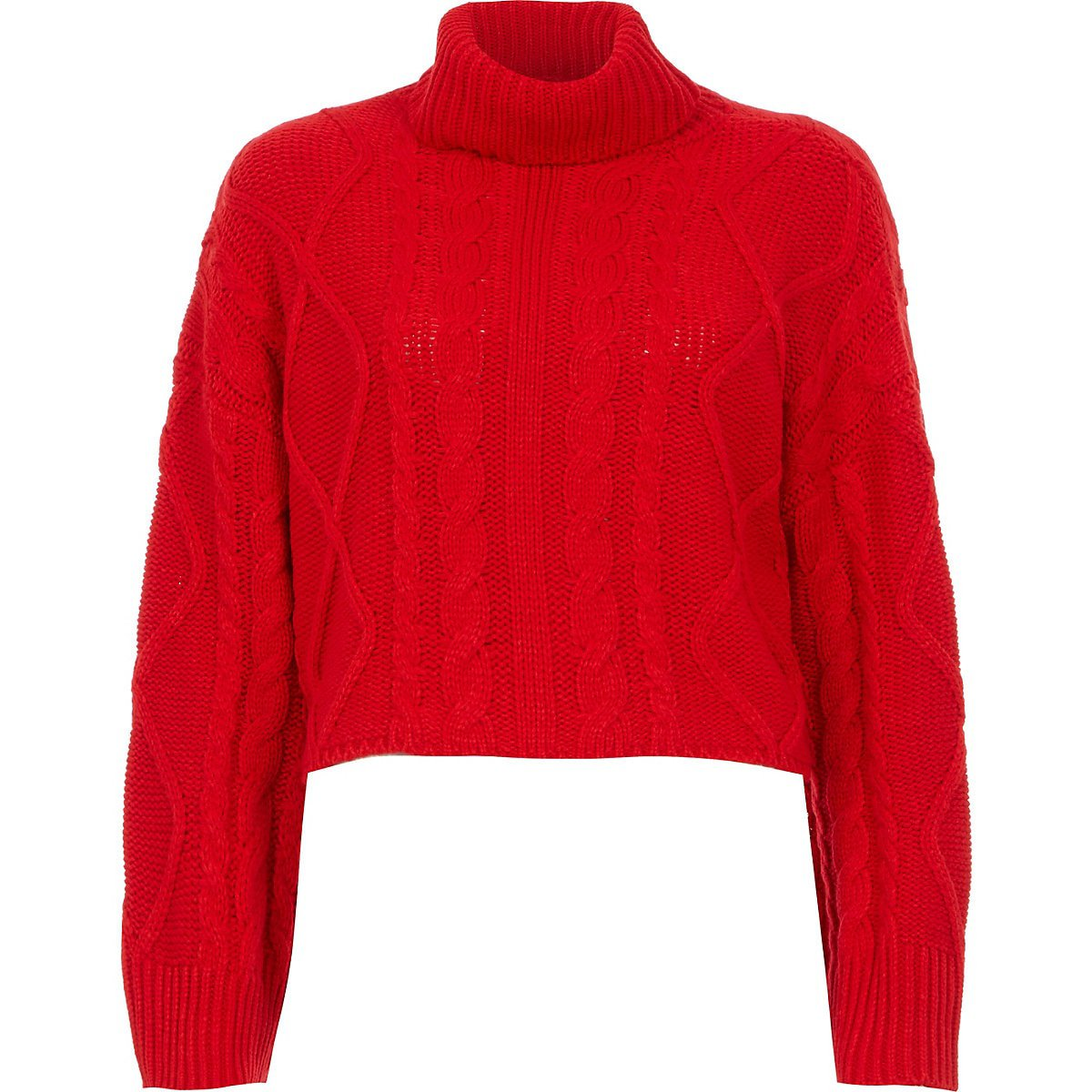 Red cable knitted roll neck crop jumper | River Island