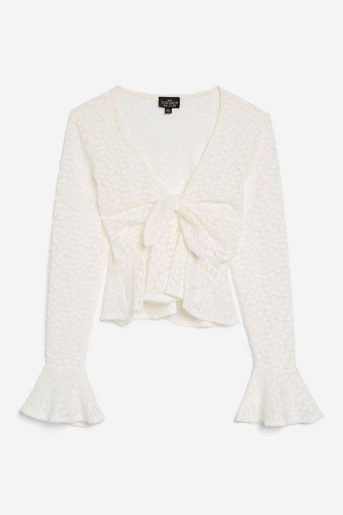 PETITE Lace Tie Front Blouse | Topshop