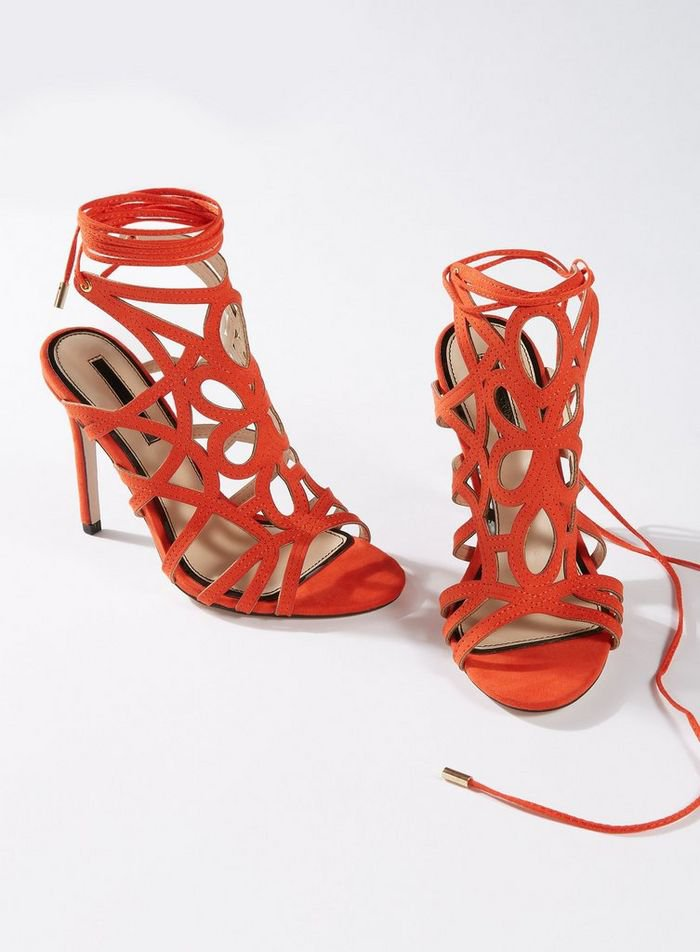 Coral HUN Caged Stiletto Heeled Sandals | Miss Selfridge