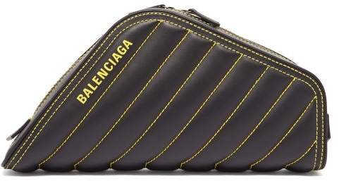 Car Quilted Leather Clutch - Womens - Black Yellow