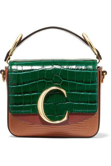 Chloé   Chloé C mini croc and lizard-effect leather shoulder bag   NET-A-PORTER.COM
