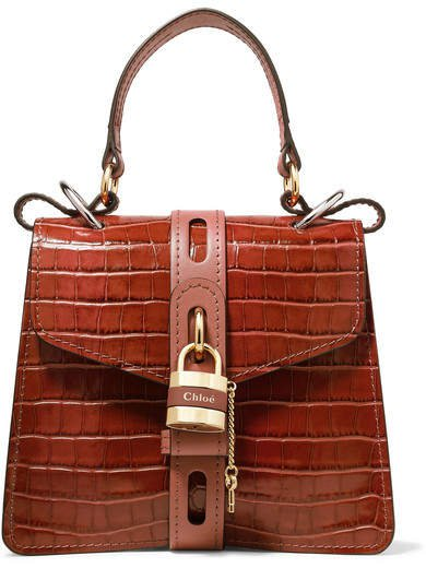 Aby Small Croc-effect Leather Tote - Brown