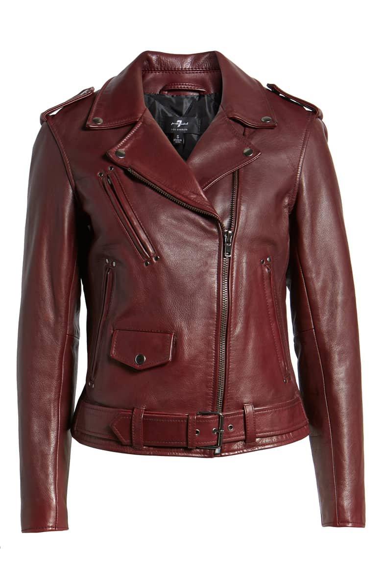 7 For All Mankind® Leather Biker Jacket | Nordstrom