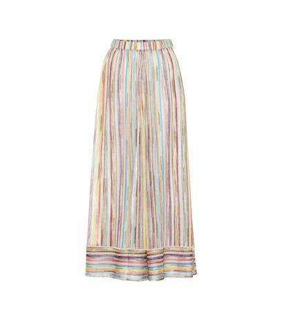 Metallic knit wide-leg pants