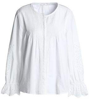 Pintucked Broderie Anglaise Cotton Blouse