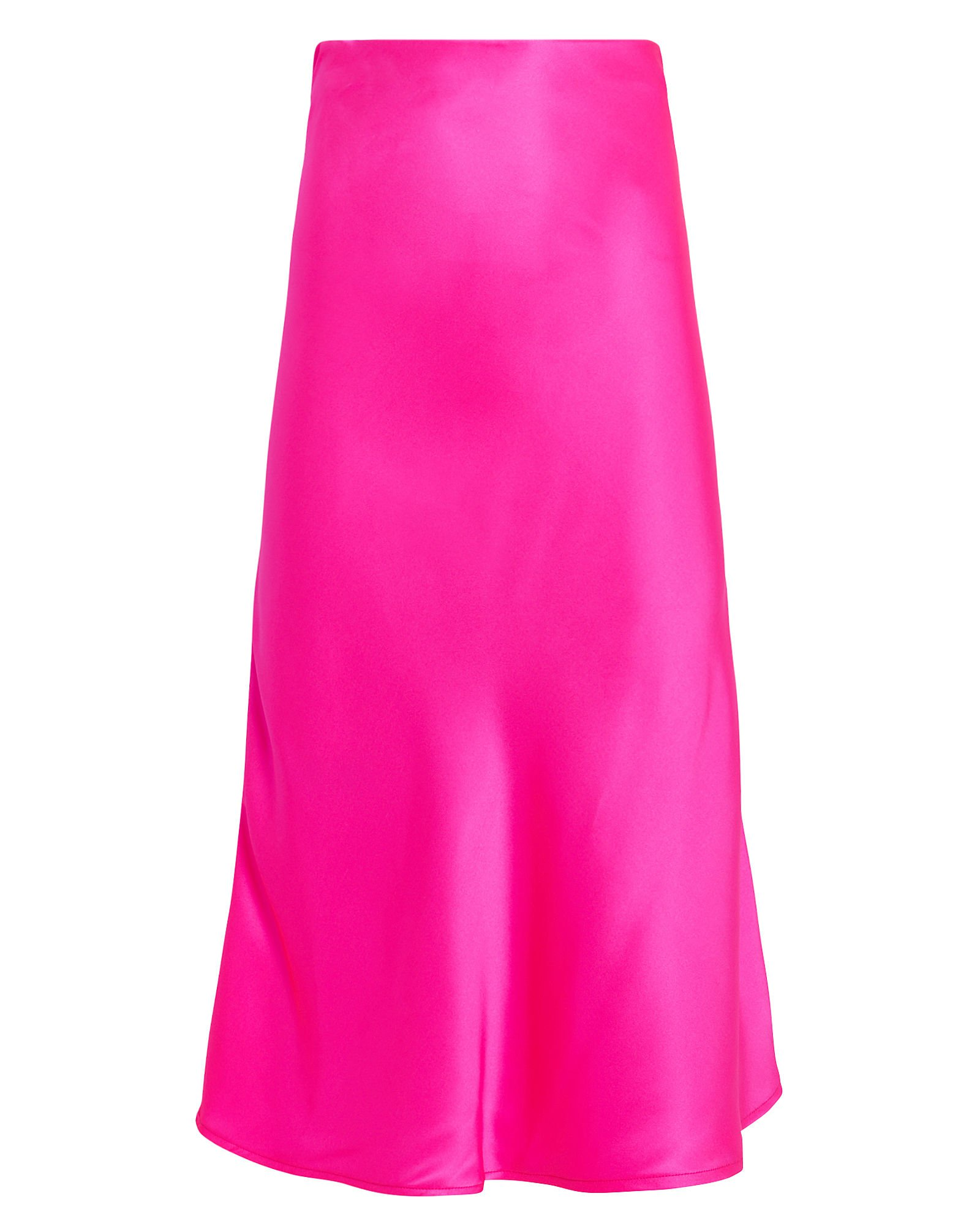 Fuchsia Bias-Cut Silk Skirt