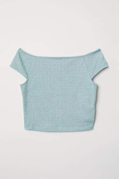 Jacquard-knit Jersey Top - Turquoise