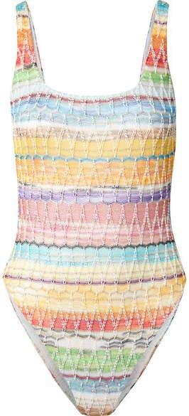 Mare Metallic Crochet-knit Cotton-blend Swimsuit - Pink