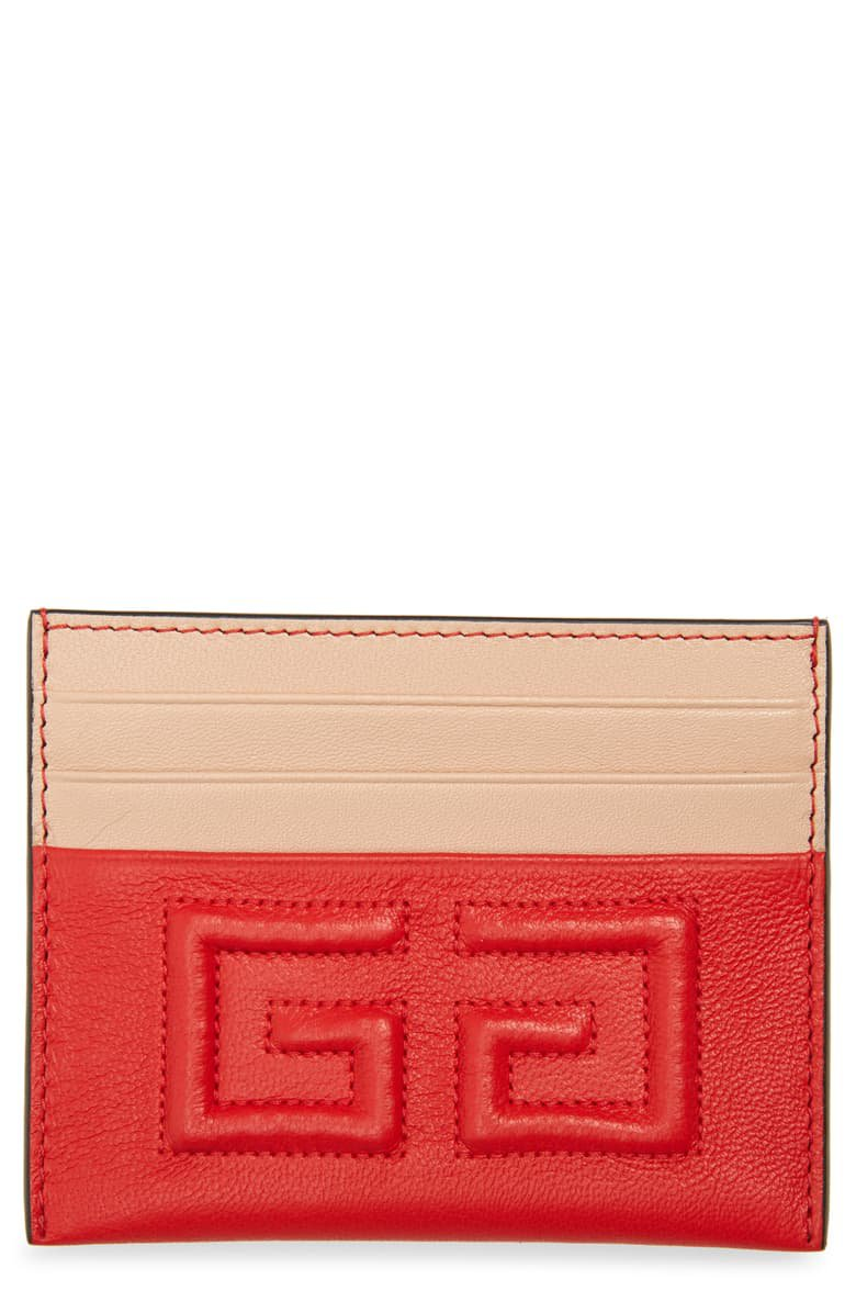 Givenchy Emblem Leather Card Case Red