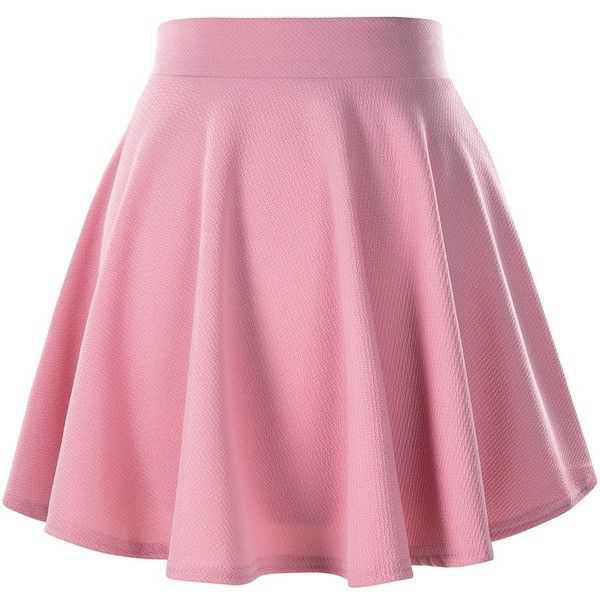 Women's Basic Solid Versatile Stretchy Flared Casual Mini Skater Skirt ($9) ❤ liked on Polyvore featuring skirts, mini skirts, pink skirt, pink cir… | c l o t …