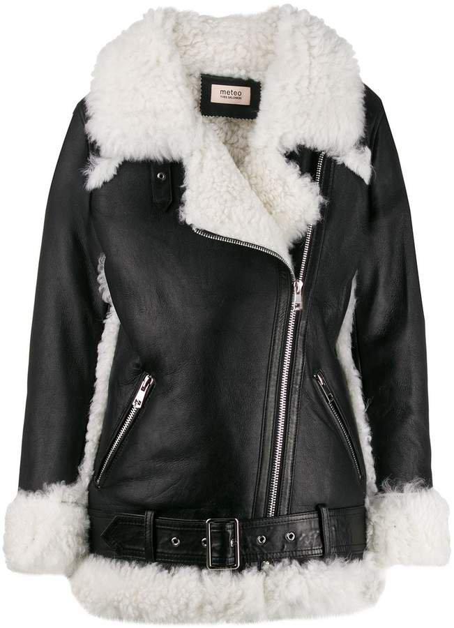 Meteo textured lined biker jacket