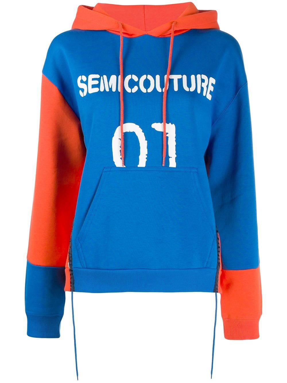 Blue Semicouture Logo Print Hoodie | Farfetch.com