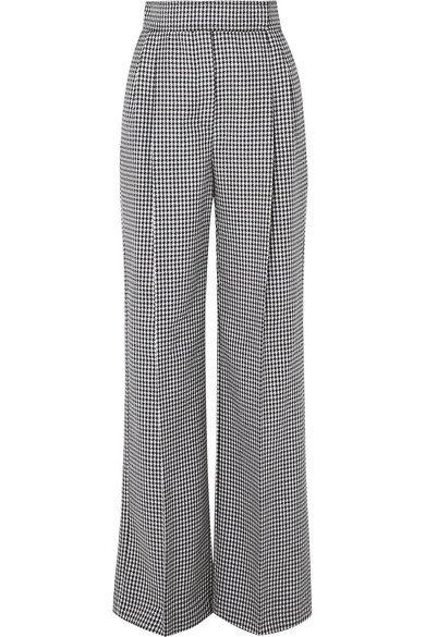 Alexander McQueen   Houndstooth wool wide-leg pants   NET-A-PORTER.COM
