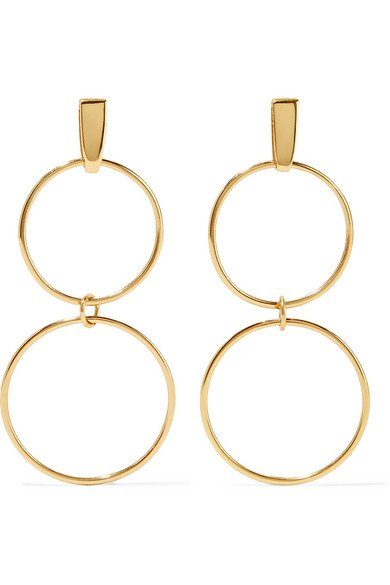 NATASHA SCHWEITZER Loop gold-plated earrings$330