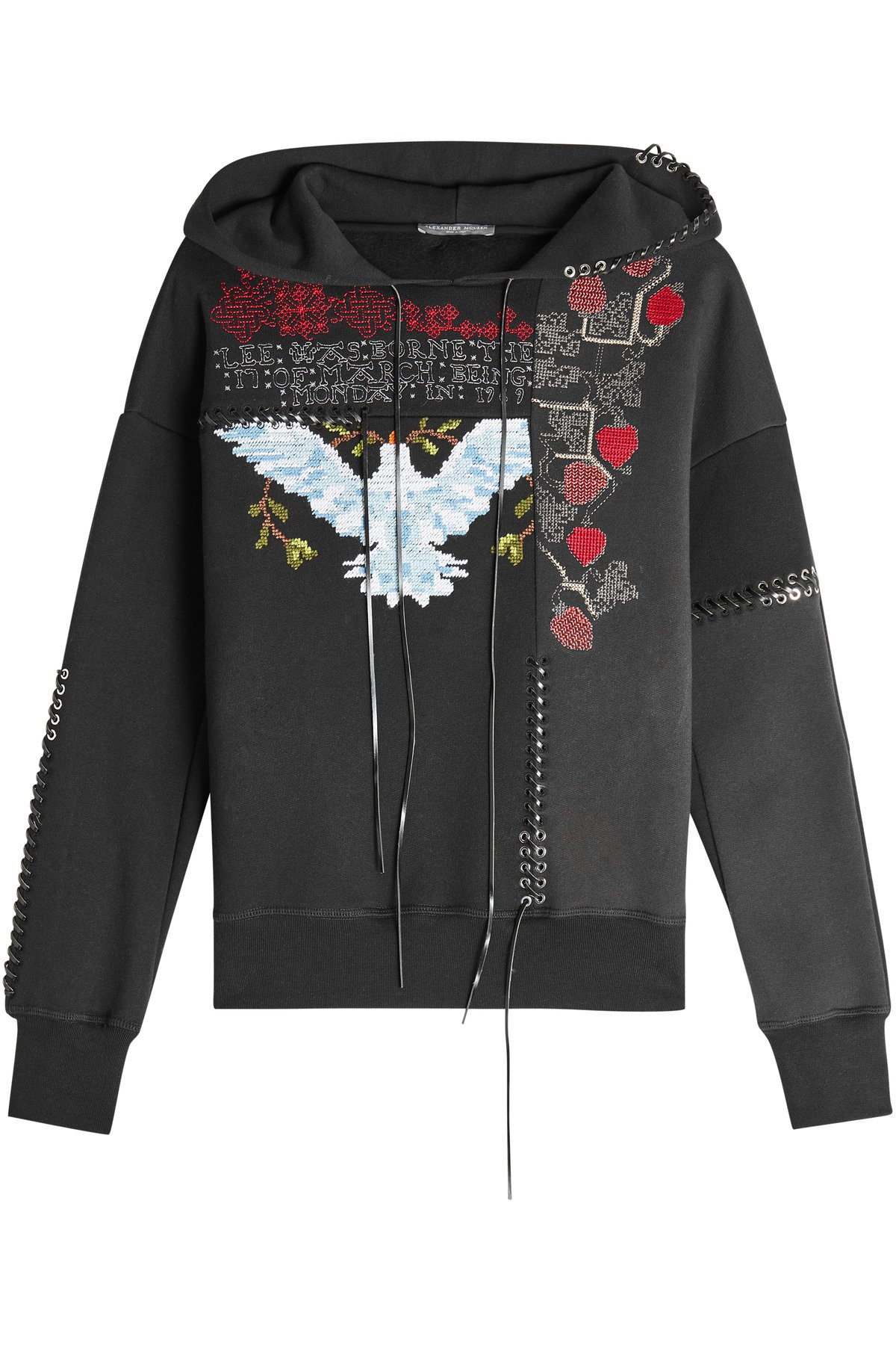 Embroidered Cotton Sweatshirt with Lace-Up Detail Gr. IT 44