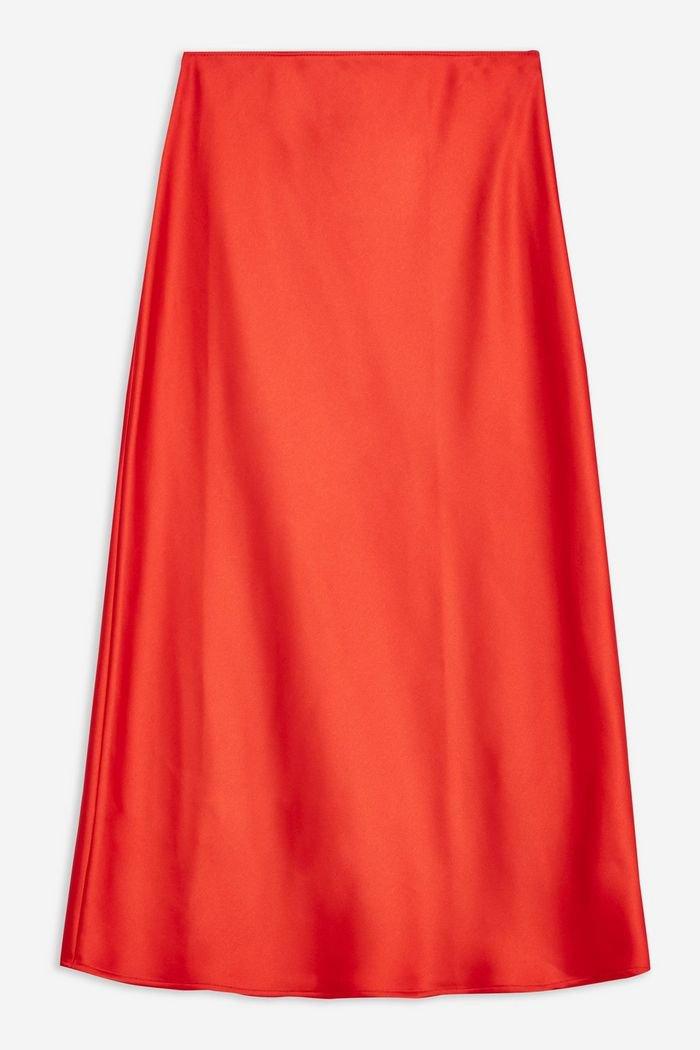 Red Satin Bias Midi Skirt | Topshop
