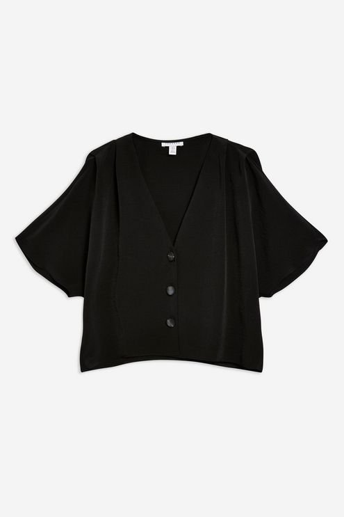 Pleat Sleeve Top - Shirts & Blouses - Clothing - Topshop