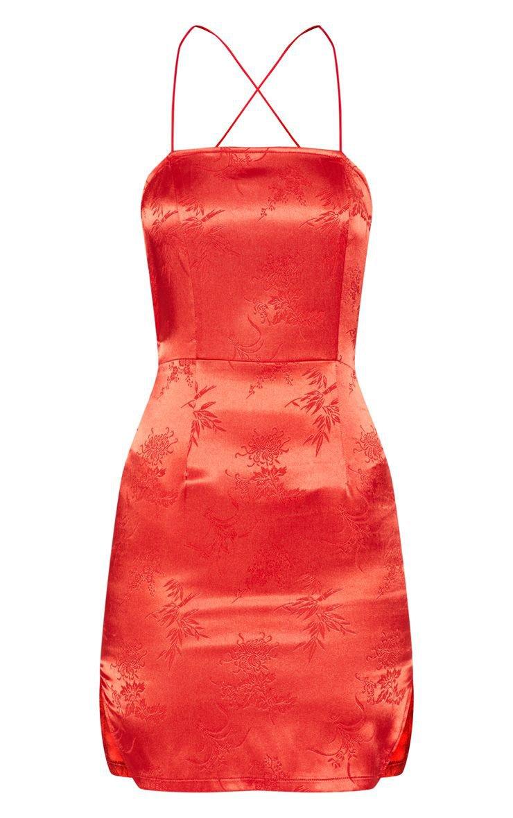 Red Satin Oriental Bodycon Dress   Dresses   PrettyLittleThing USA
