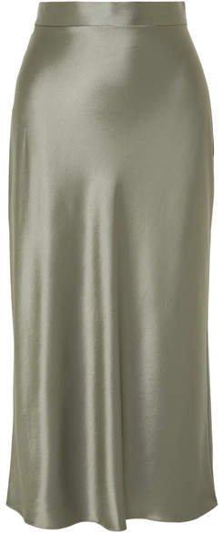Deveaux - Satin Midi Skirt - Gray