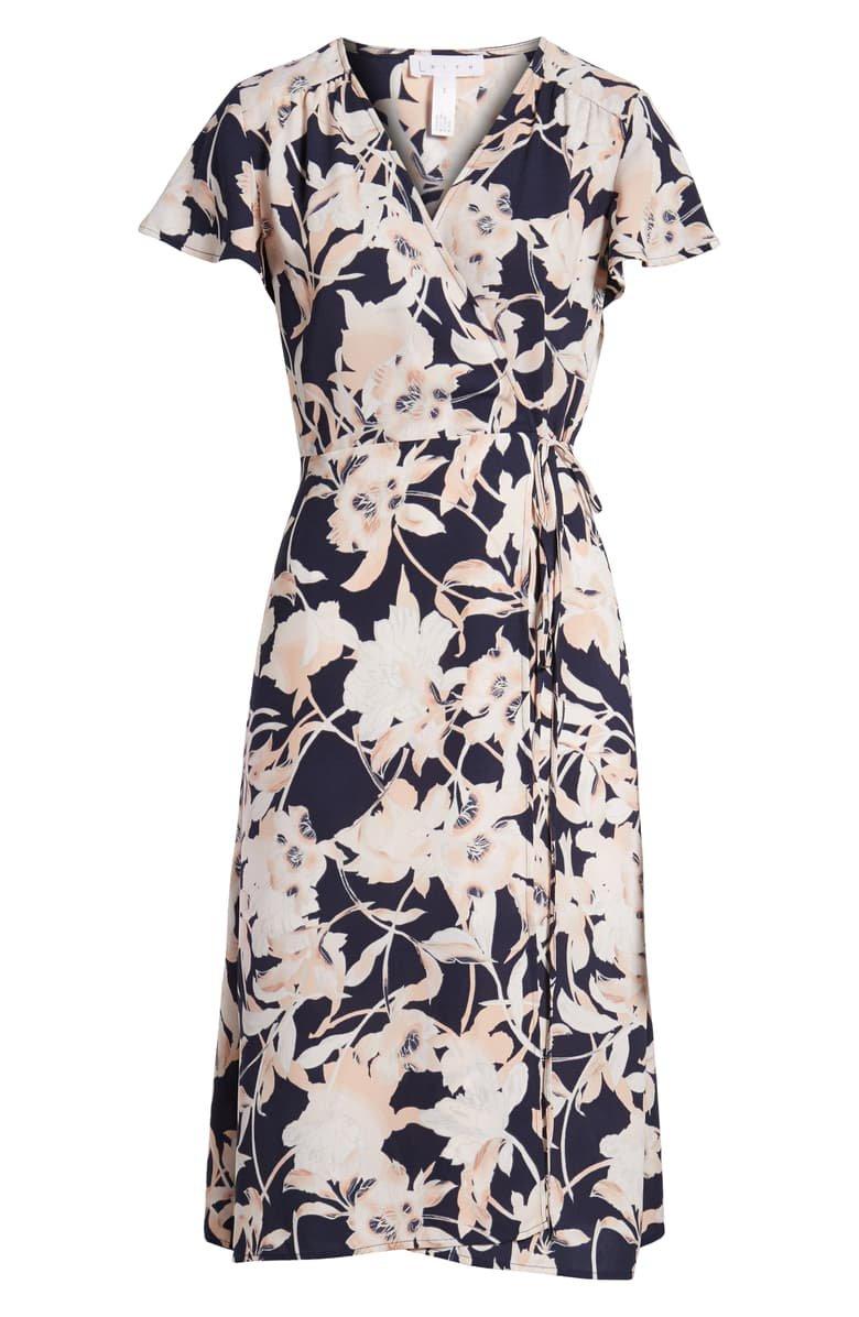 Leith Midi Wrap Dress Navy