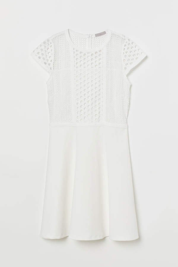 Dress with Lace Inserts - White