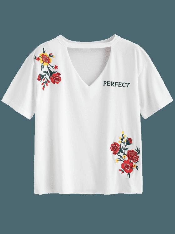 Choker Embroidered T Shirt WHITE: Tees XL | ZAFUL