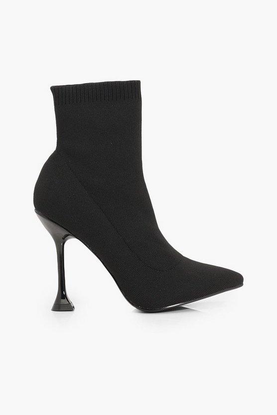 Interest Heel Sock Boots | Boohoo black