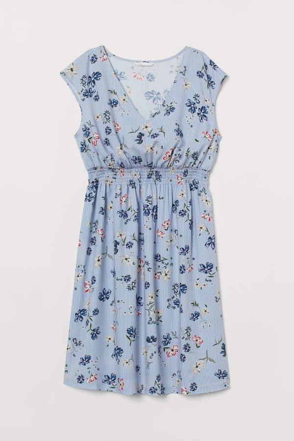 MAMA V-neck Dress - Blue