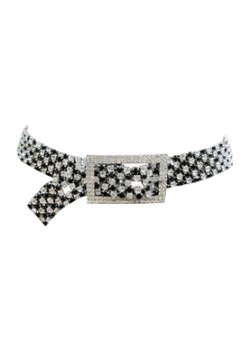 Sequined Checked Buckle Belt