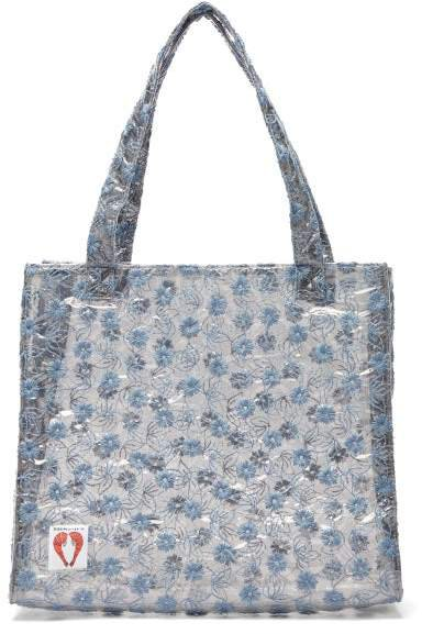 Bay Embroidered Pvc Tote Bag - Womens - Clear Multi