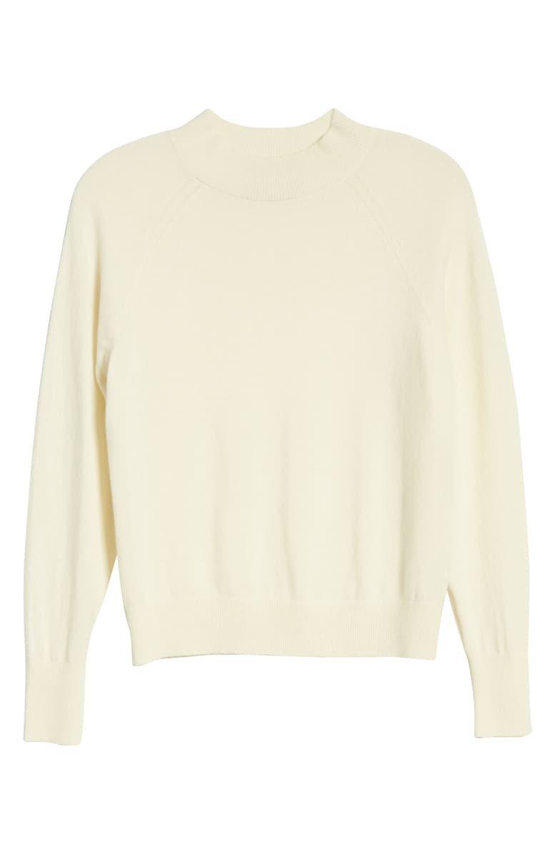 Everlane The Cashmere Raglan Mock Neck Sweater ivory
